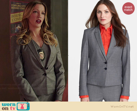 Hugo Boss Jolia Peplum Jacket worn by Katie Cassidy on Arrow