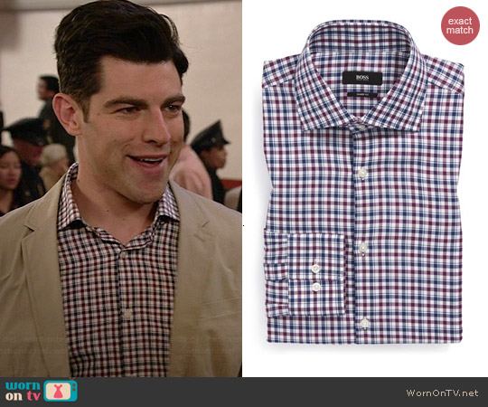 Hugo Boss Miles Shirt worn by Max Greenfield on New Girl