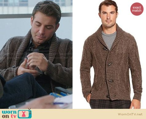 Hugo Boss Miron Cardigan worn by James Wolk on The Crazy Ones