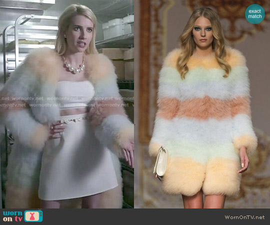 Ida Sjostebt Spring 2014 Fur Coat worn by Chanel Oberlin on Scream Queens