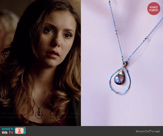 Inayaaz Smokey Brown Quartz Mix Metal Necklace worn by Nina Dobrev on The Vampire Diaries