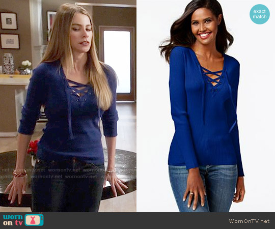 INC International Concepts Solid Lace-Up Ribbed Sweater worn by Sofia Vergara on Modern Family