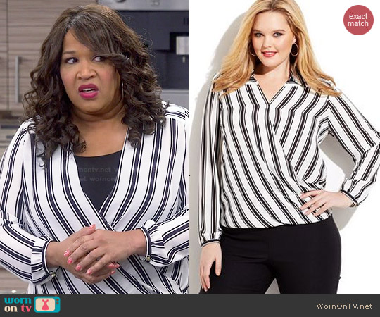 INC International Concepts Striped Faux-Wrap Blouse worn by Kym Whitley on Young & Hungry
