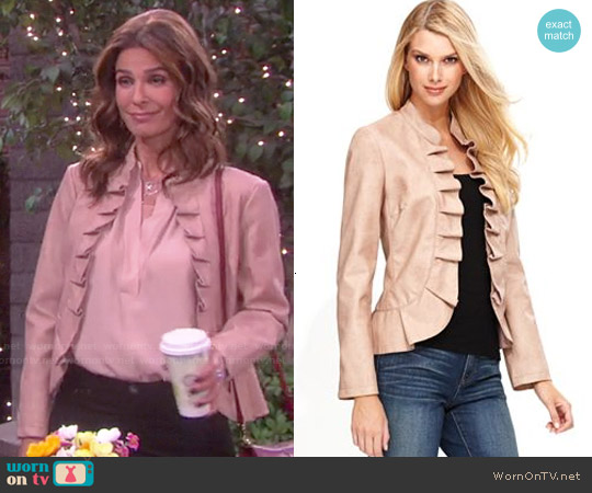 INC International Concepts Faux Leather Ruffle Jacket worn by Hope Williams on Days of our Lives