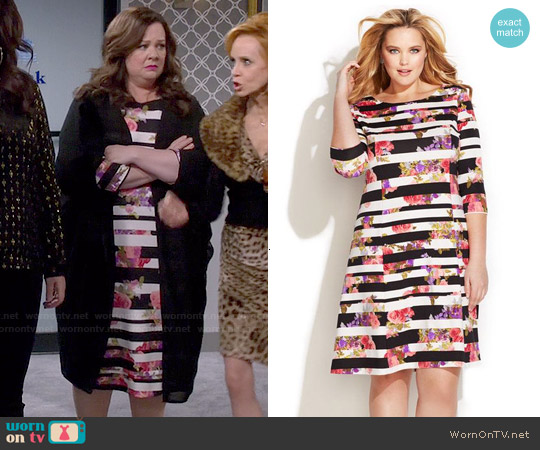 INC International Concepts Mixed Print A-Line Dress worn by Melissa McCarthy on Mike & Molly