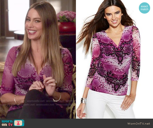 INC International Concepts Snakeskin-Print Surplice Top worn by Sofia Vergara on Modern Family