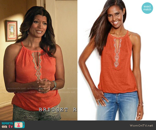 INC International Concepts Beaded Keyhole Linen Halter Top worn by Andrea Navedo on Jane the Virgin