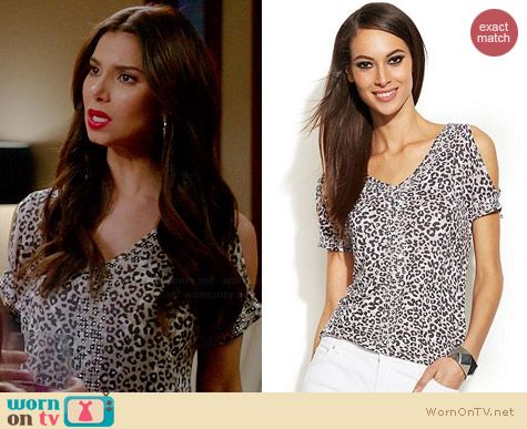 INC International Concepts Cold Shoulder Leopard Print Top worn by Roselyn Sanchez on Devious Maids