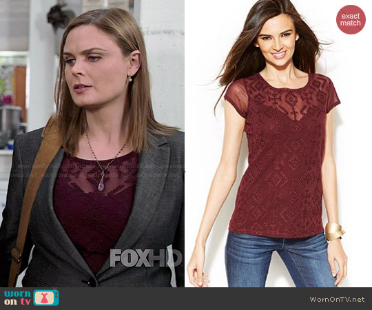 INC International Concepts Embroidered Illusion-Sleeve Top worn by Emily Deschanel on Bones