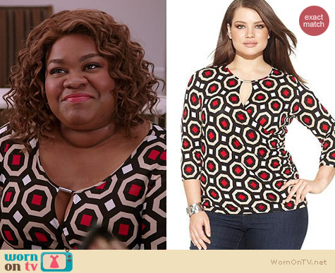 INC International Concepts Plus Size Printed Keyhole Top worn by Da'Vine Joy Randolph on Selfie
