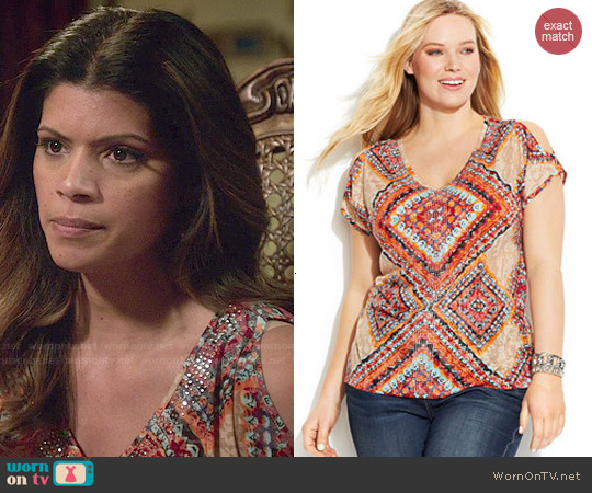 INC International Concepts Printed Cold Shoulder Top worn by Andrea Navedo on Jane the Virgin