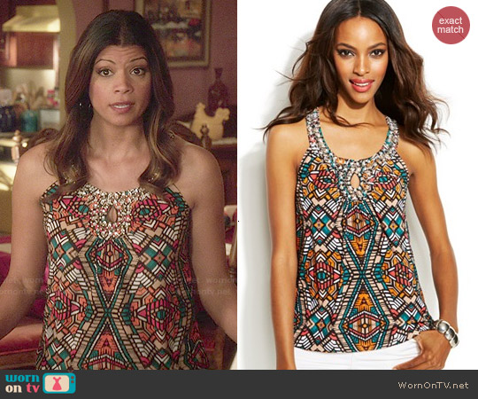 INC International Concepts Printed Embellished Keyhole Top in Tribal Stone worn by Andrea Navedo on Jane the Virgin