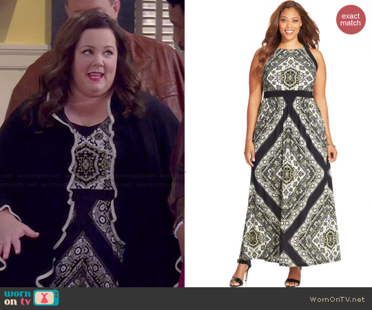 INC International Concepts Printed Halter Maxi Dress worn by Melissa McCarthy on Mike & Molly