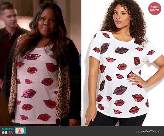 INC International Concepts Sequin Lips Top worn by Amber Riley on Glee