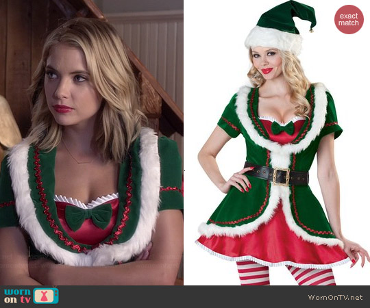 InCharacter Costumes Holiday Honey Velvet Dress worn by Ashley Benson on PLL
