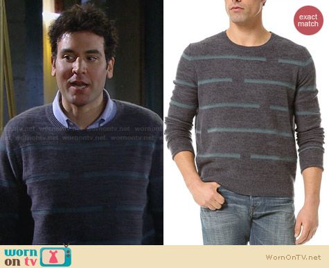 Inhabit Broken Stripes Sweater worn by Josh Radnor on HIMYM