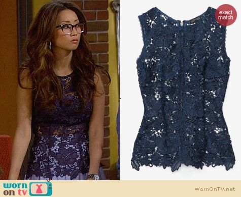 Exclusive for Intermix Blue Lace Cutout Top worn by Brenda Song on Dads