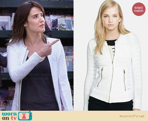 IRO Amiya Veste Boucle Mesh Jacket worn by Cobie Smulders on HIMYM