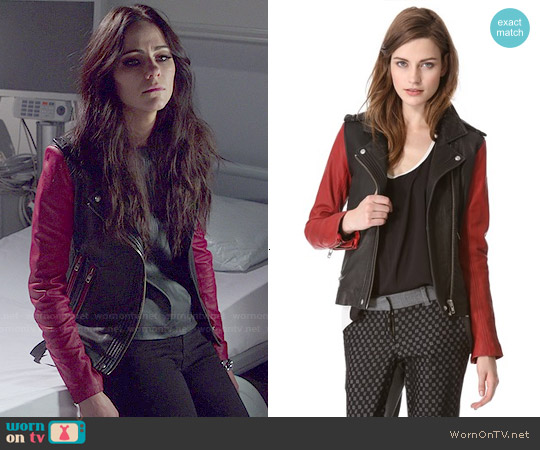 IRO Blanca Leather Jacket worn by Alexandra Park on The Royals