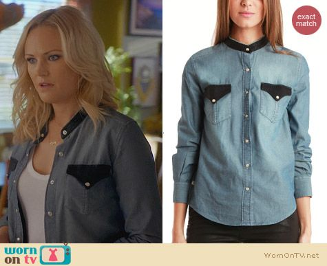 IRO Bromley Shirt worn by Malin Akerman on Trophy Wife
