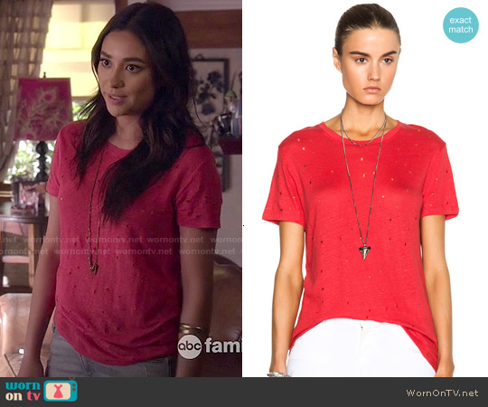 IRO Clay Linen Tee worn by Shay Mitchell on PLL
