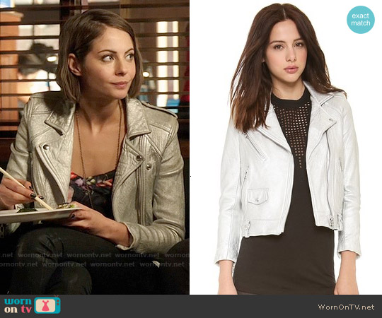 IRO Ebya Metallic Leather Jacket worn by Willa Holland on Arrow