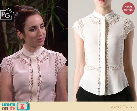 IRO Iana top in ivory worn by Zoe Lister Jones on FWBL