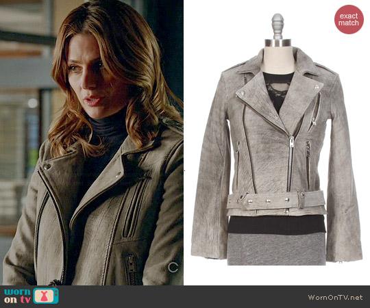 IRO Jova Mottled Leather Moto Jacket worn by Stana Katic on Castle