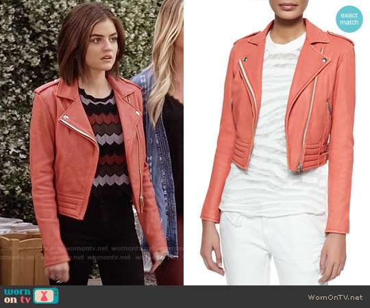 IRO Zefir Jacket in Light Red worn by Aria Montgomery on PLL
