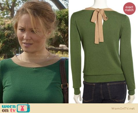 Isaac Mizrahi Tie-Back Colorblock Sweater worn by Erika Christensen on Parenthood