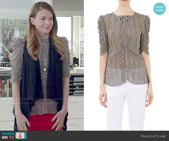 Etoile Isabel Marant Ruched Caja Peplum Blouse worn by Sutton Foster on Younger