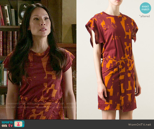 Isabel Marant Abstract Print Dress worn by Lucy Liu on Elementary