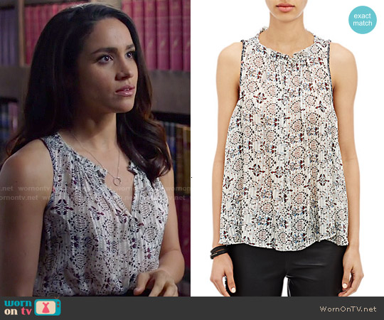 WornOnTV: Rachel's Printed Top On Suits