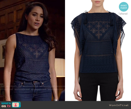 WornOnTV: Rachel's Navy Embroidered Top On Suits