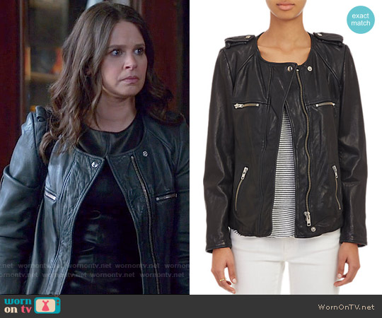 Isabel Marant Bacuri Leather Jacket worn by Katie Lowes on Scandal
