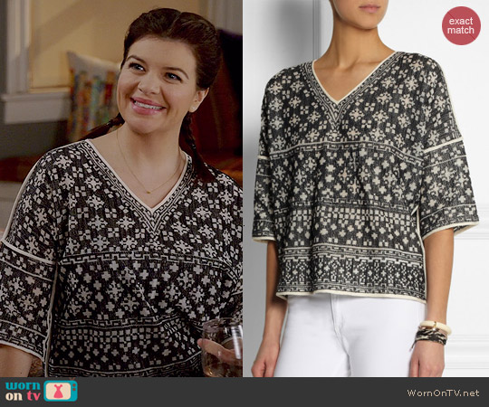 Isabel Marant Bela Top worn by Casey Wilson on Marry Me