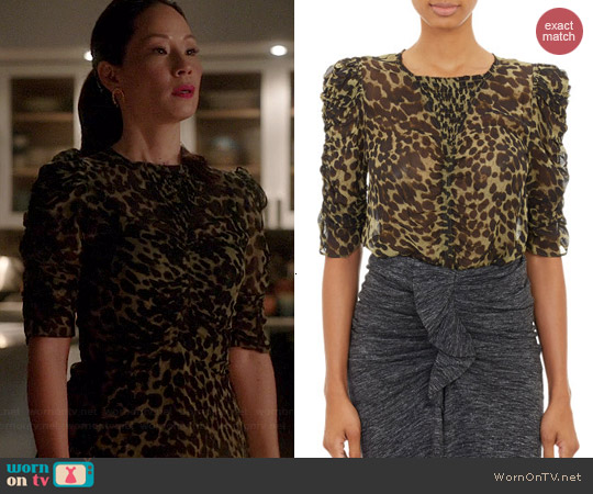 Etoile Isabel Marant Caja Leopard Top worn by Lucy Liu on Elementary