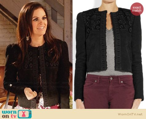 Isabel Marant Embroidered Shearling Jacket worn by Rachel Bilson on Hart of Dixie