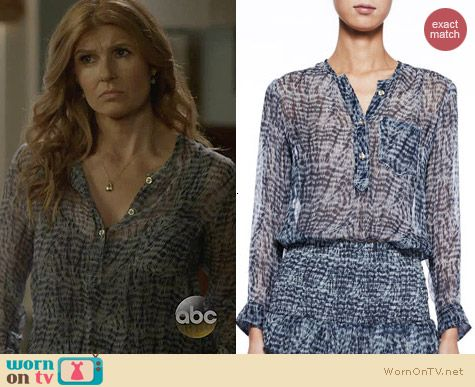 Isabel Marant Etoile Zino Printed Chiffon Blouse worn by Connie Britton on Nashville