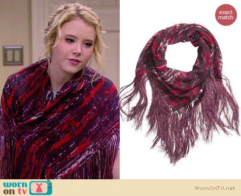 Isabel Marant for H&M Red Printed Fringe Scarf worn by Taylor Sprietler on Melissa & Joey