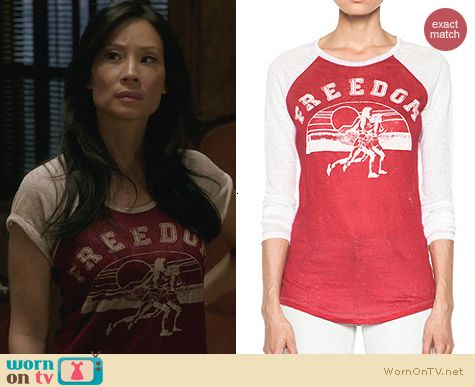 Etoile Isabel Marant Freedom Linen Tee Shirt worn by Lucy Liu on Elementary