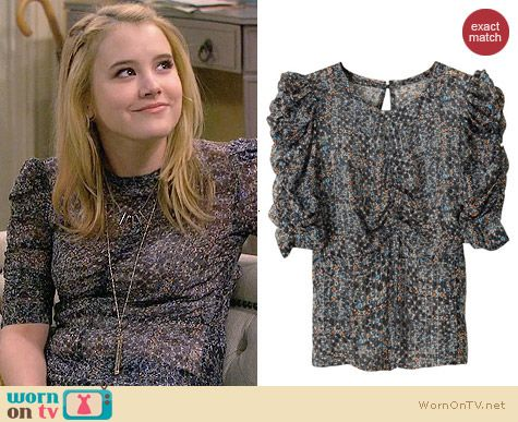 Isabel Marant for H&M Ruched Sleeve Top worn by Taylor Sprietler on Melissa & Joey