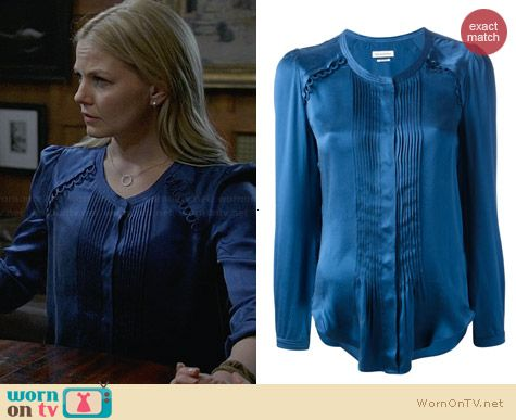 Etoile Isabel Marant Blue Pleated Satin Blouse worn by Jennifer Morrison on OUAT