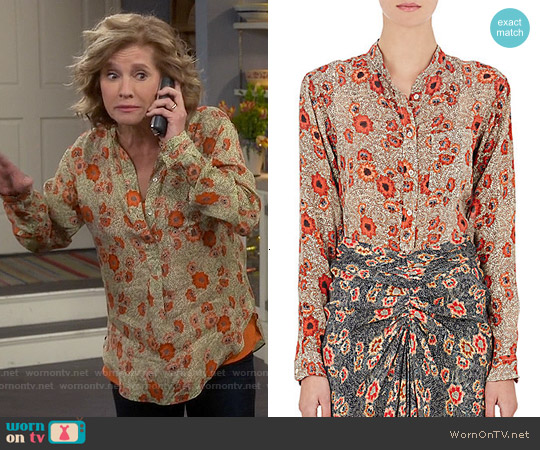 Isabel Marant Selina Blouse worn by Nancy Travis on Last Man Standing