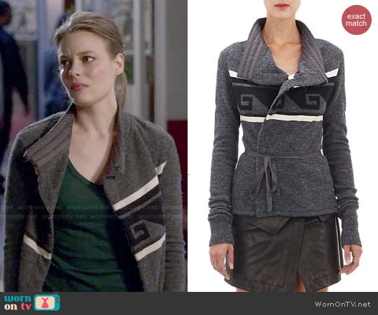Isabel Marant 'Shanley' Key-Pattern Wrap Cardigan worn by Gillian Jacobs on Community