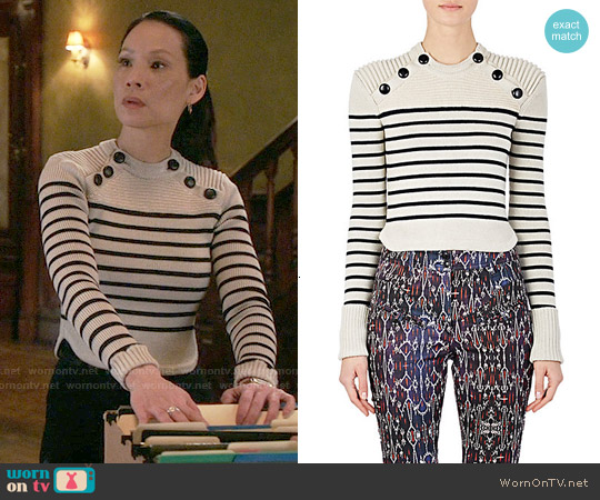 Isabel Marant Striped Hatfield Sweater worn by Lucy Liu on Elementary