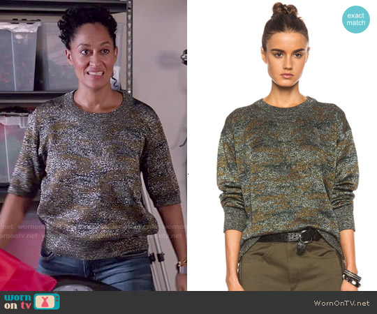 Isabel Marant Wal Lurex Camo Sweatshirt worn by Tracee Ellis Ross on Blackish