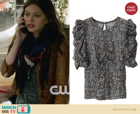 Isabel Marant for H&M Ruched Top worn by Aimee Teegarden on Star-Crossed