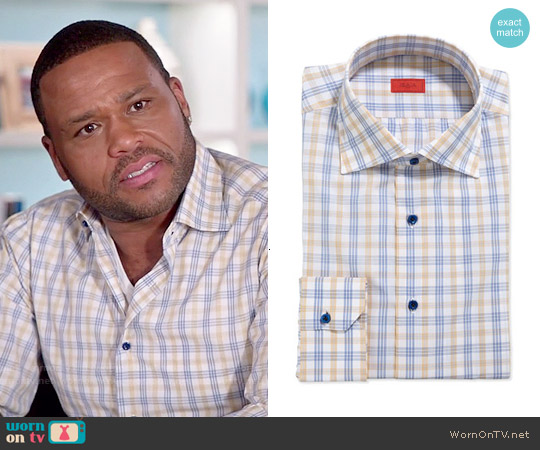 Isaia Woven Large Check Dress Shirt worn by Anthony Anderson on Blackish