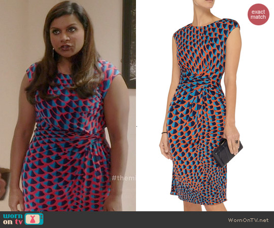 Issa Gathered Printed Cady Dress worn by Mindy Kaling on The Mindy Project